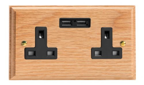 Varilight XK5U2OB Kilnwood Oak 2 Gang Double 13A Unswitched Plug Socket 2.1A USB